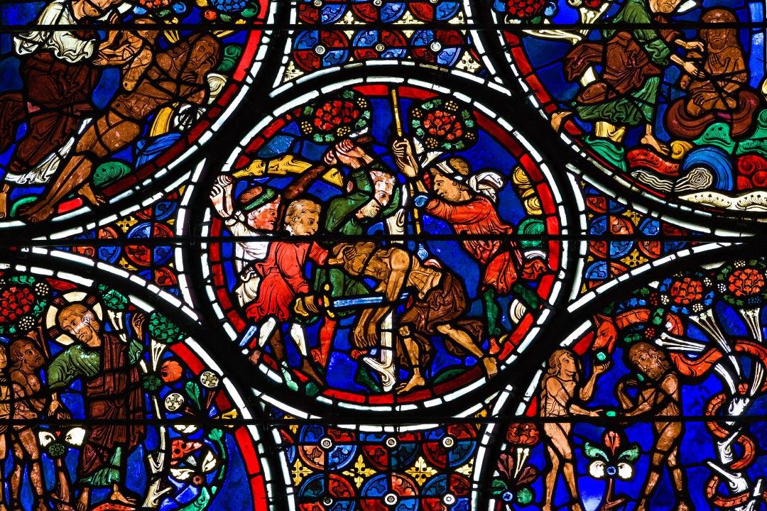 Vitraux de la cathédrale de Bourges : le Christ attaqué